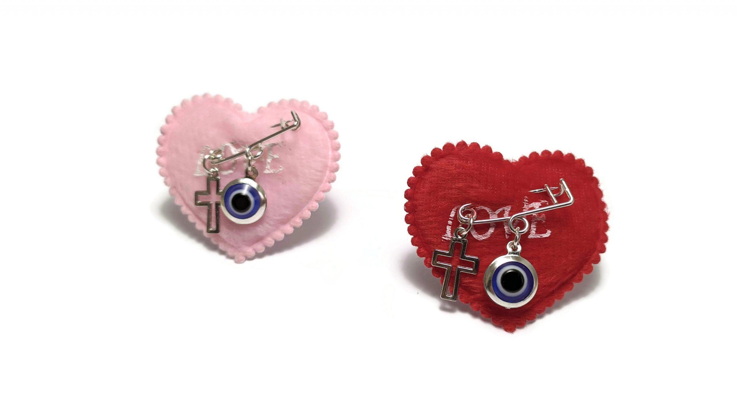 Evil eye cross safety pin