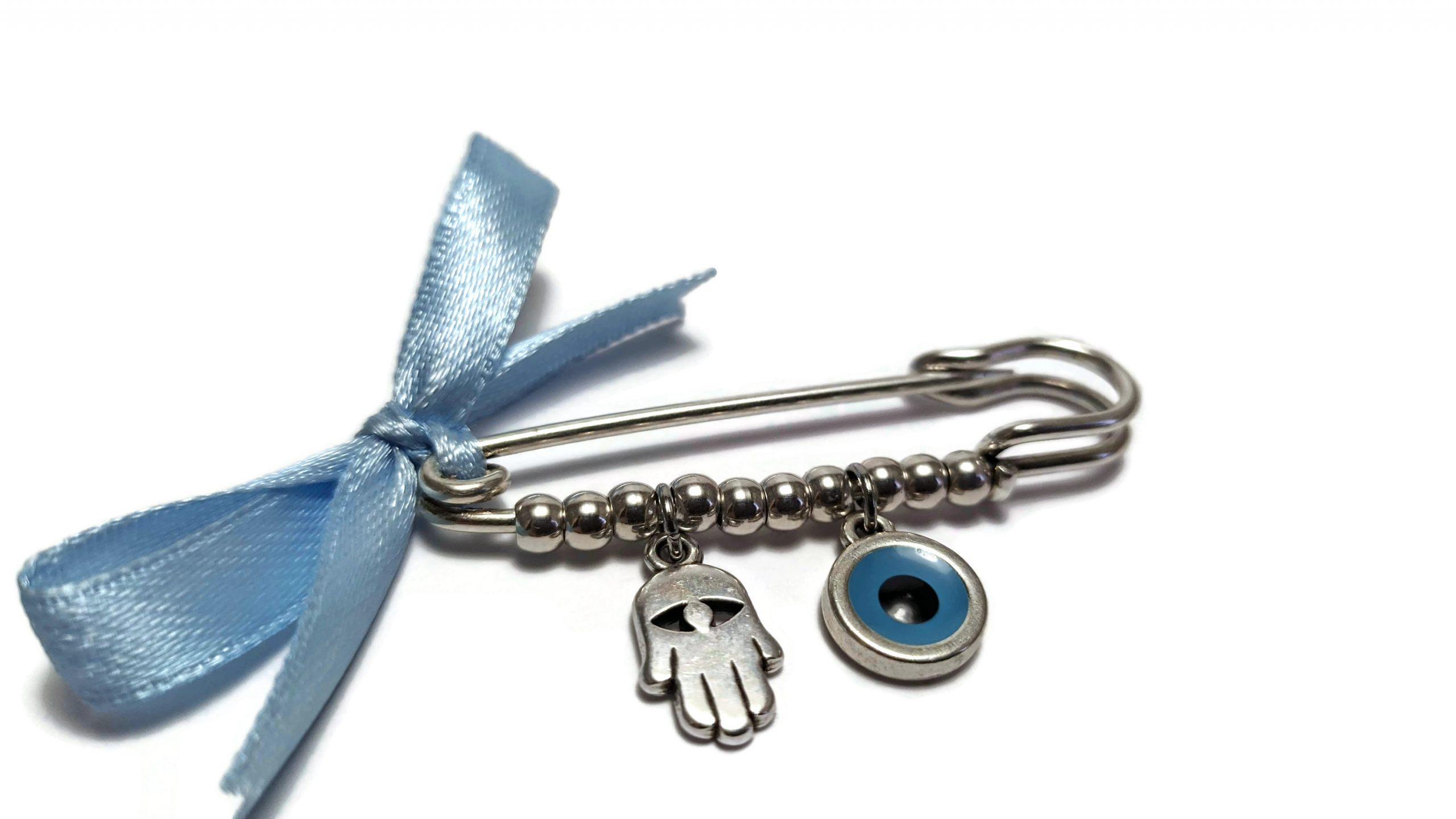 hamsa evil eye safety pin