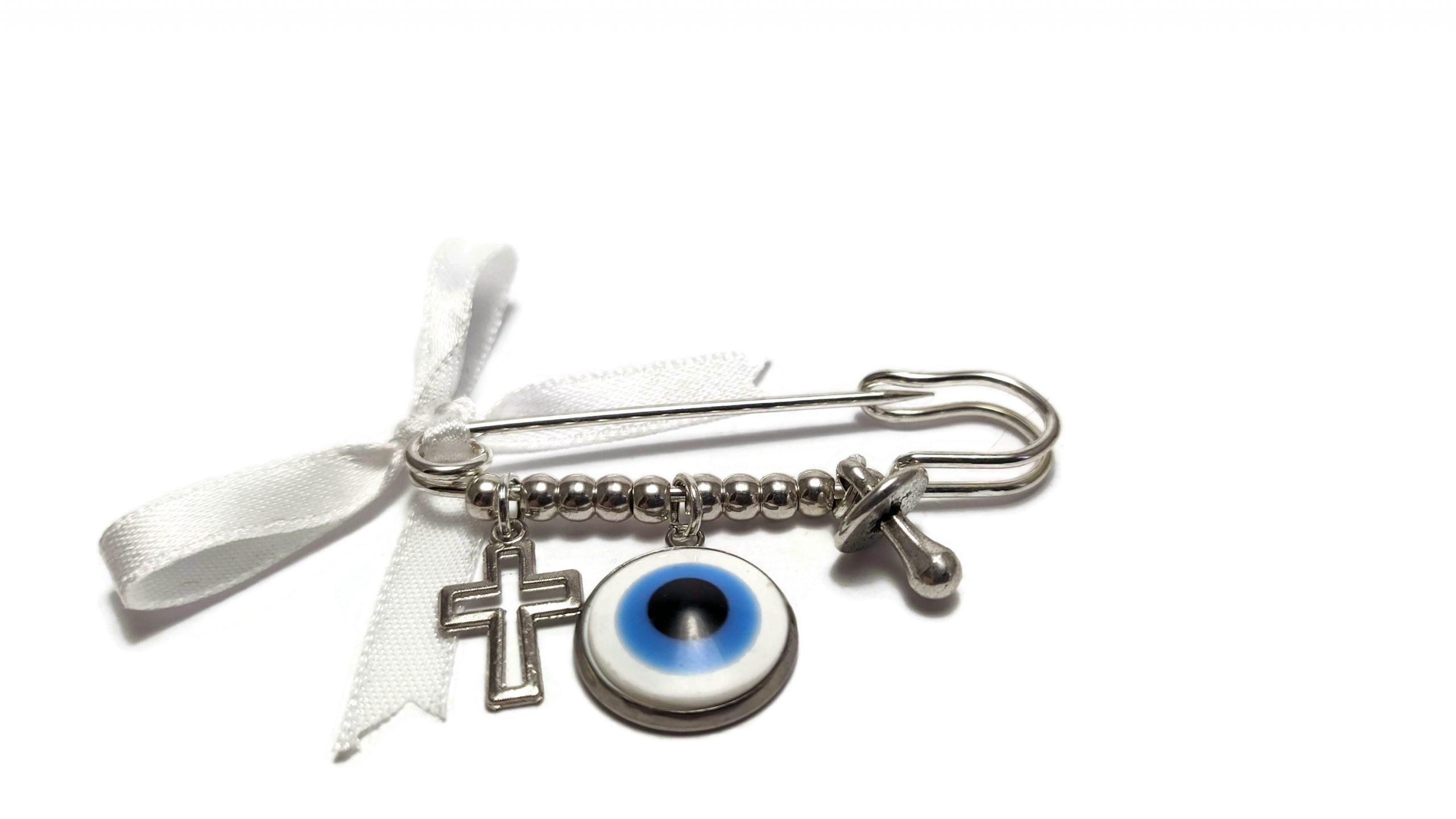 evil eye white safety pin