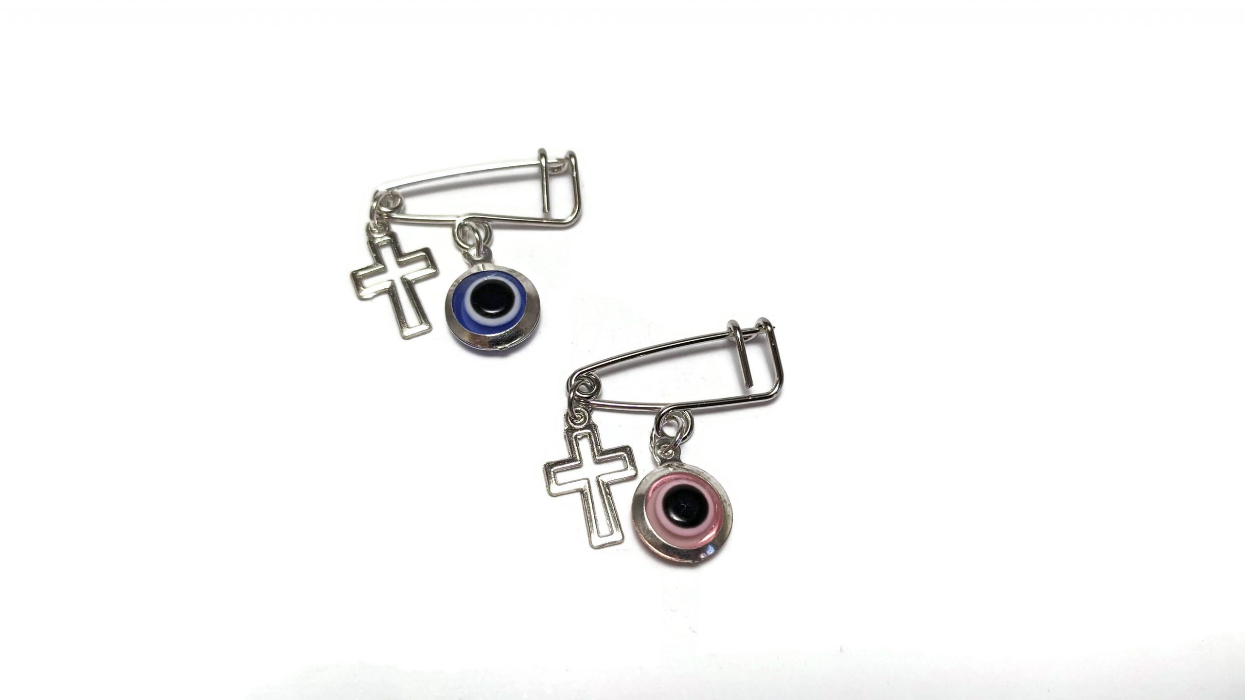 evil eye cross safety pin