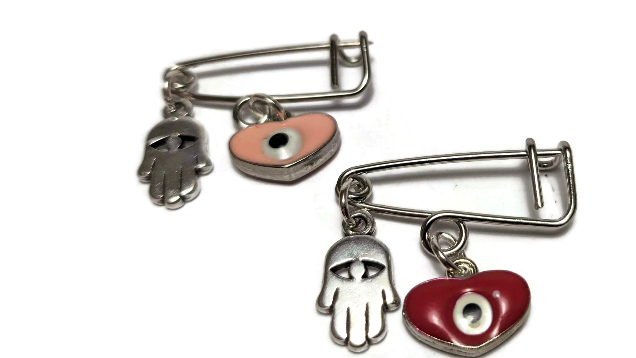 evil eye hamsa safety pin