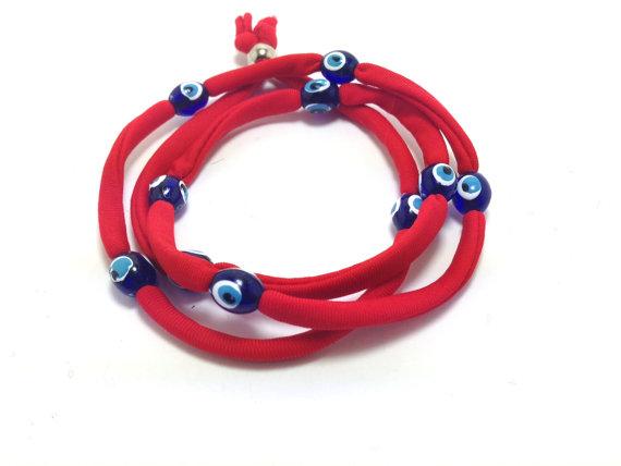 Red Evil eye lucky string wrap bracelet