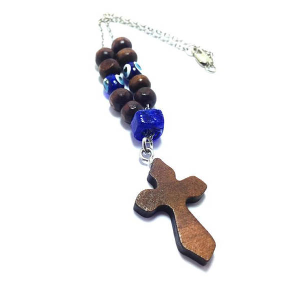 Evil eye rearview mirror car hanger cross charm