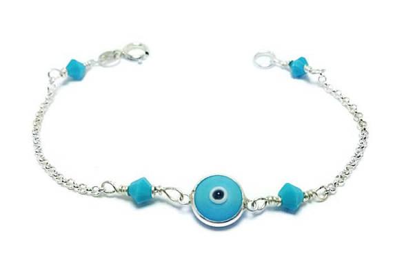 blue swarovski baby evil eye sterling silver bracelet