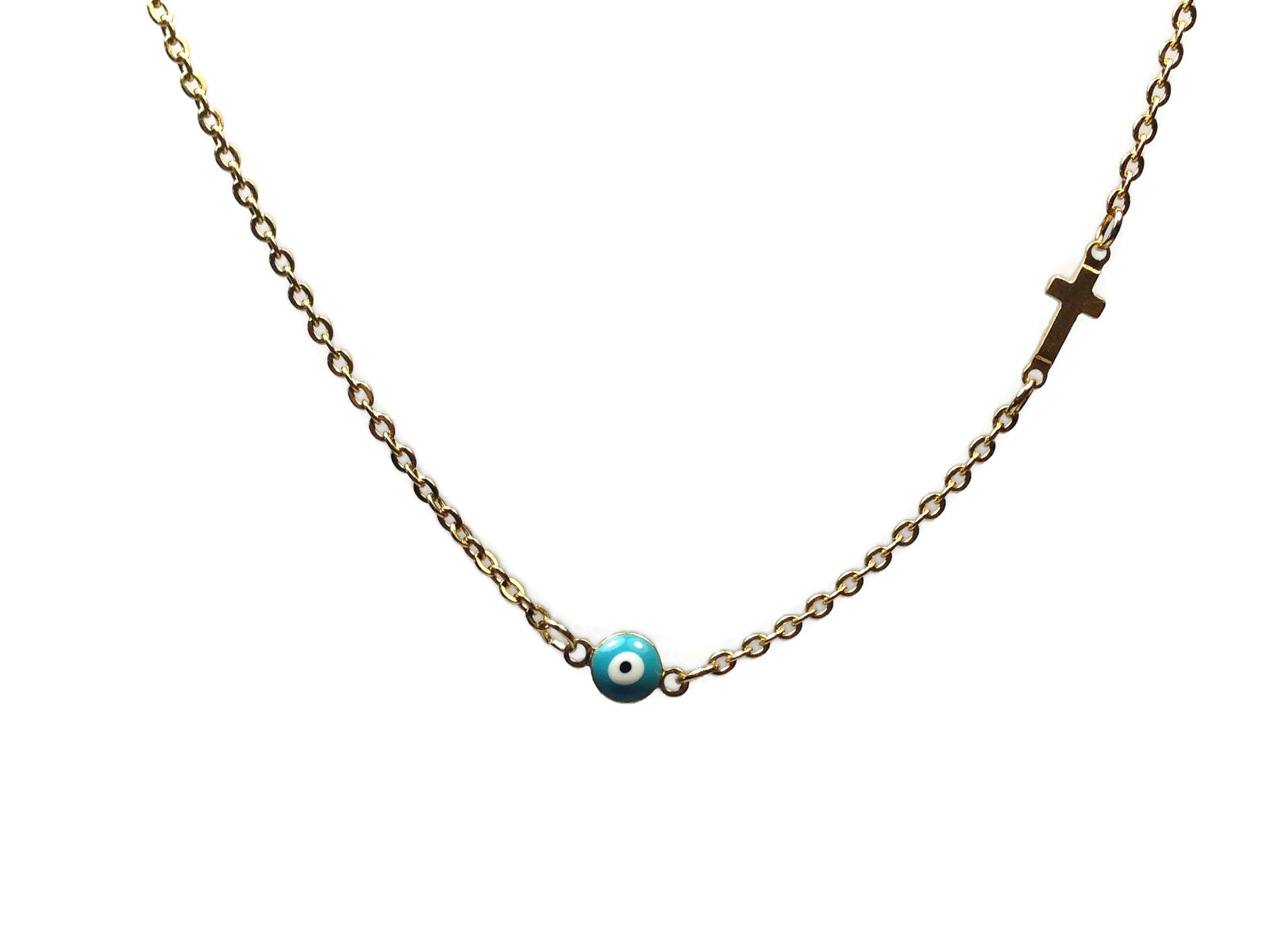 evil eye cross necklace in gold plated stainless steel