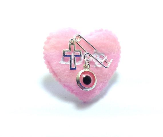 evil eye heart safety pin