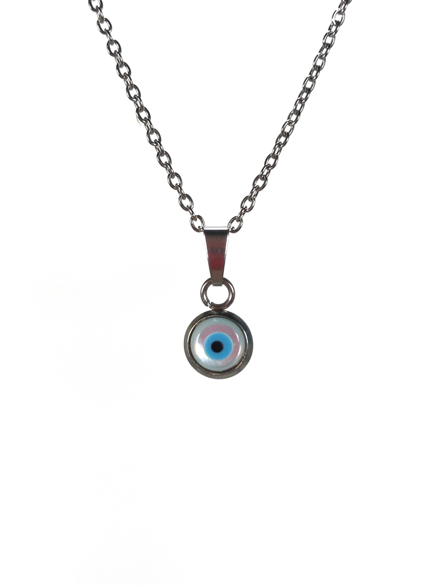 mother of pearl evil eye pendant in stainless steel