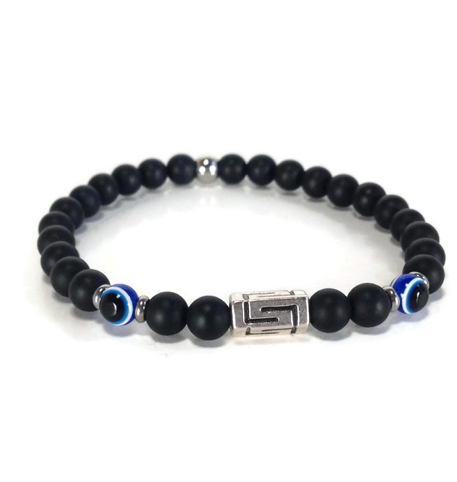 Greek key evil eye onyx bracelet – Greek gift