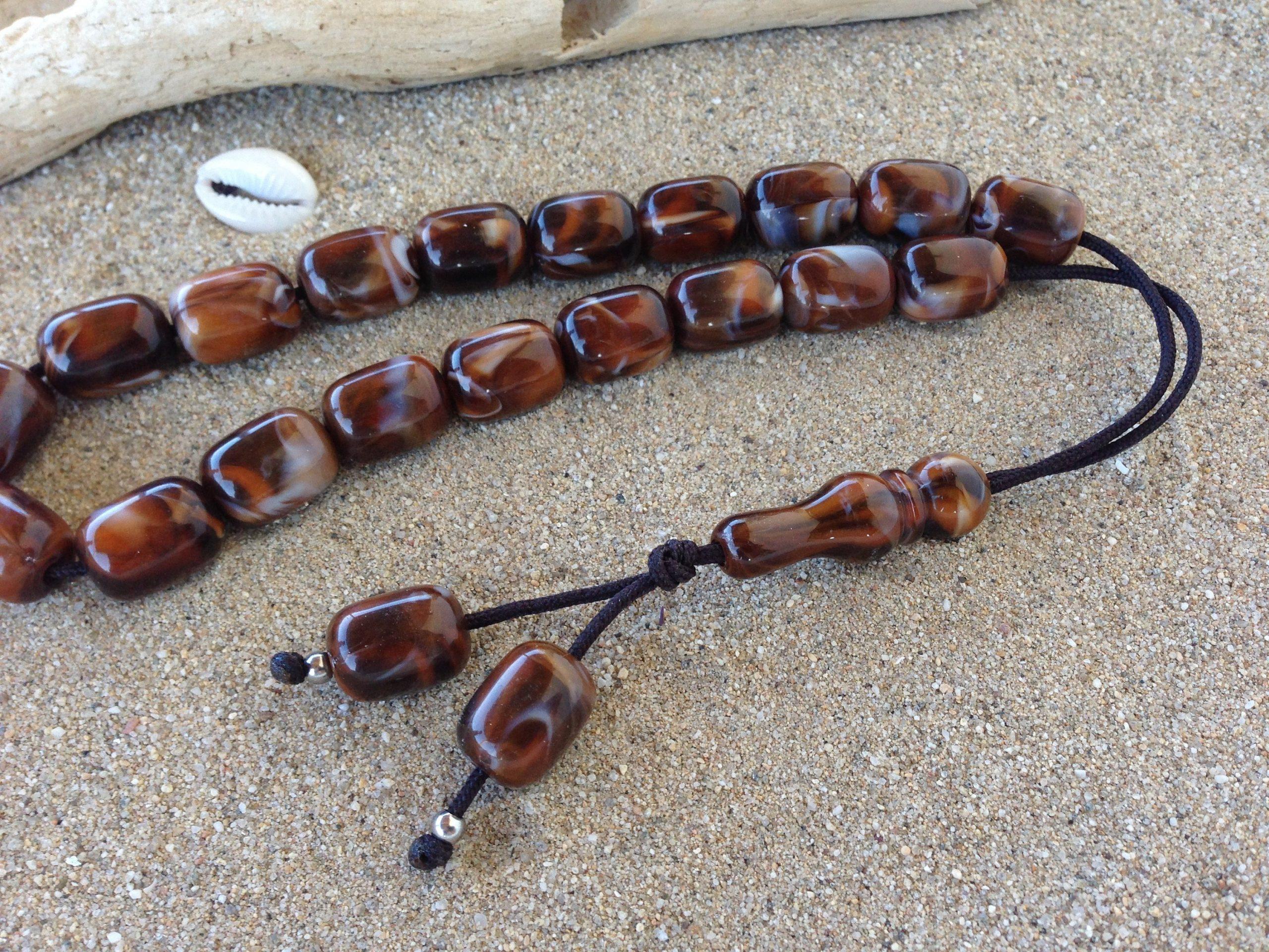 Greek komboloi worry beads brown