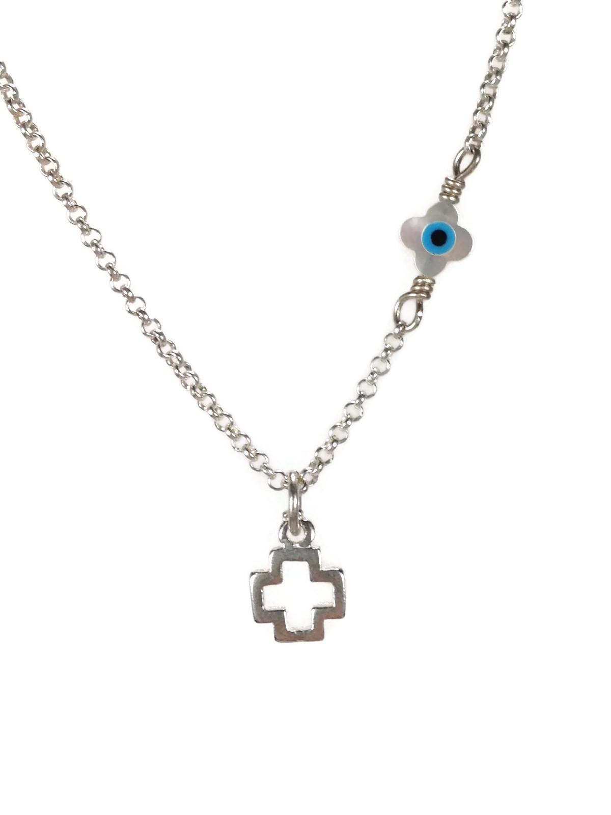cross evil eye silver necklace