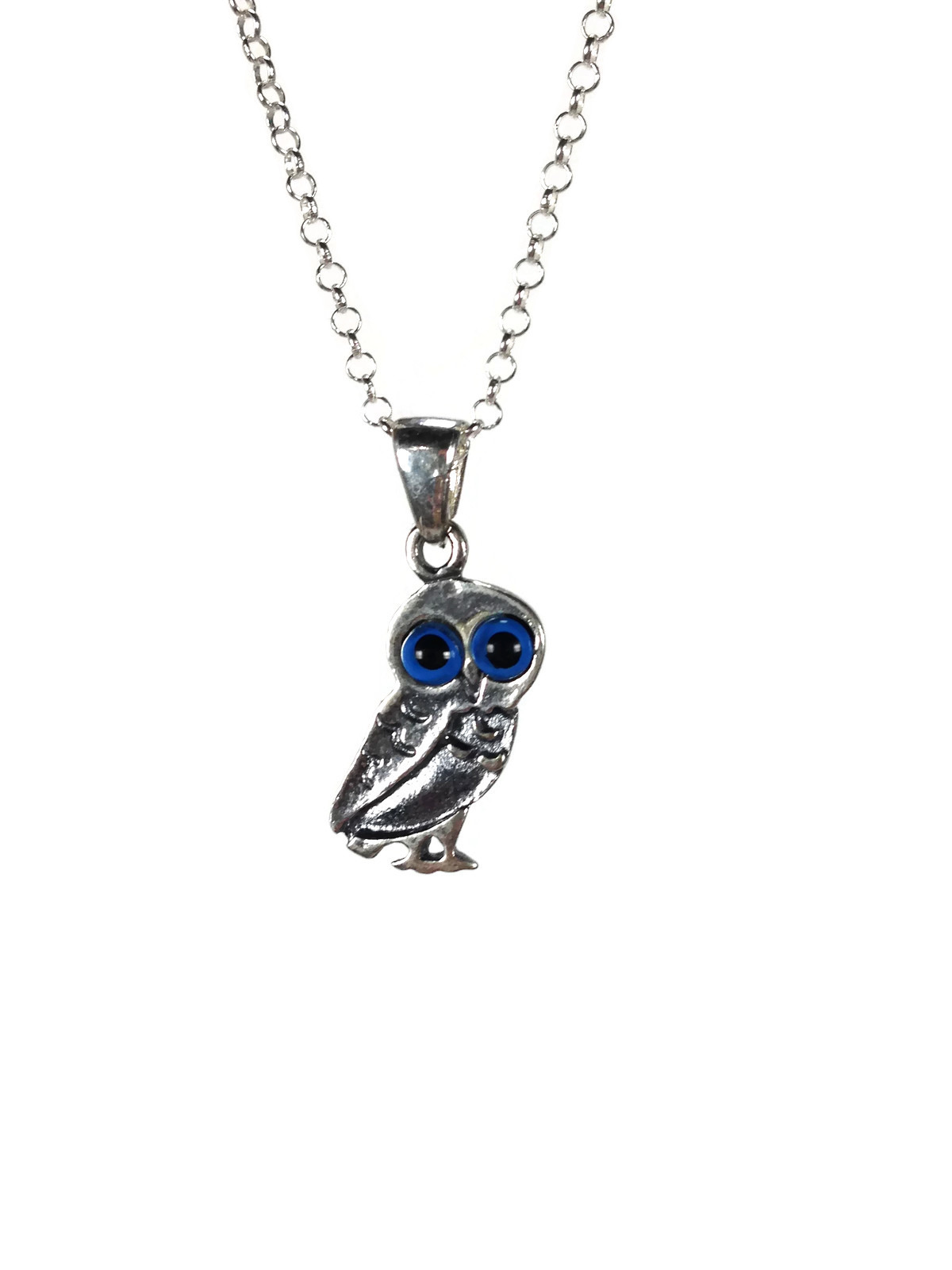 Owl Evil eye necklace - Dark Blue eye - 925 sterling silver