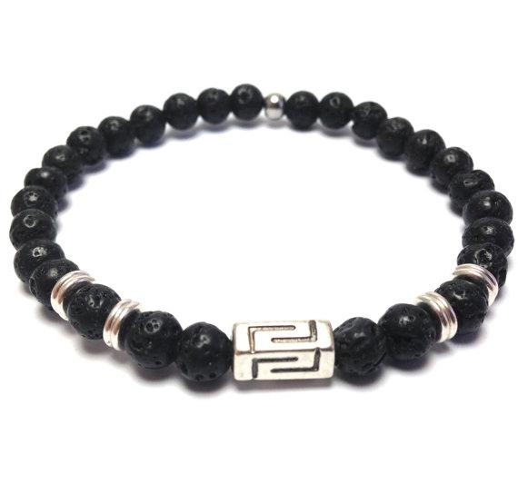 Greek bracelet – Lava beads – protection – Greek jewelry – For men or women