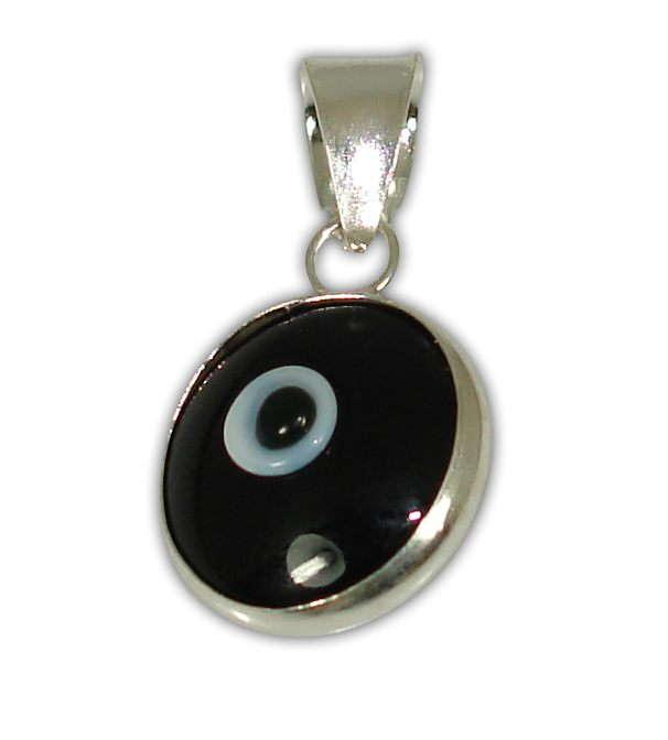 Sterling silver evil eye pendant – Black – 10mm – 0.39″