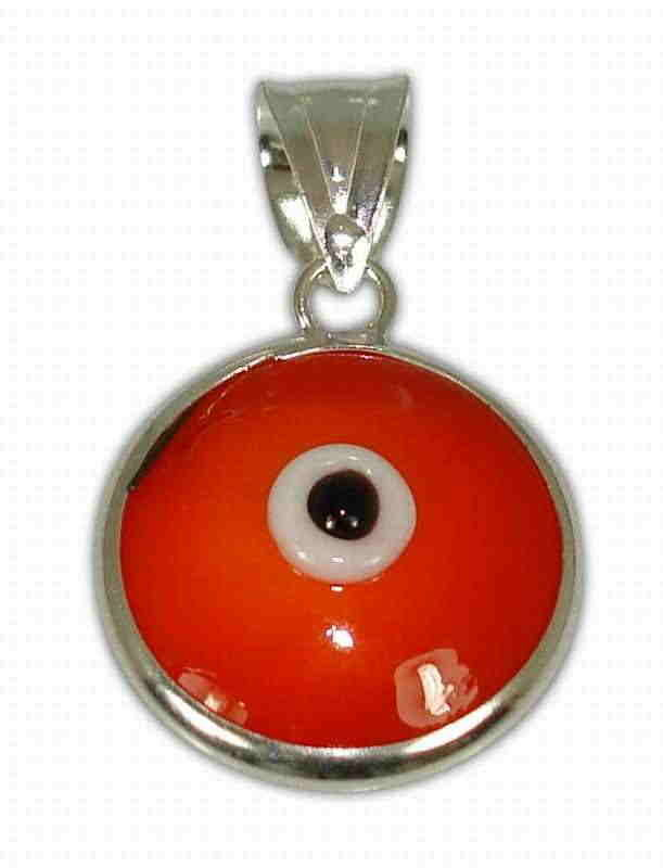 Sterling silver evil eye pendant – Red – 10mm – 0.39″