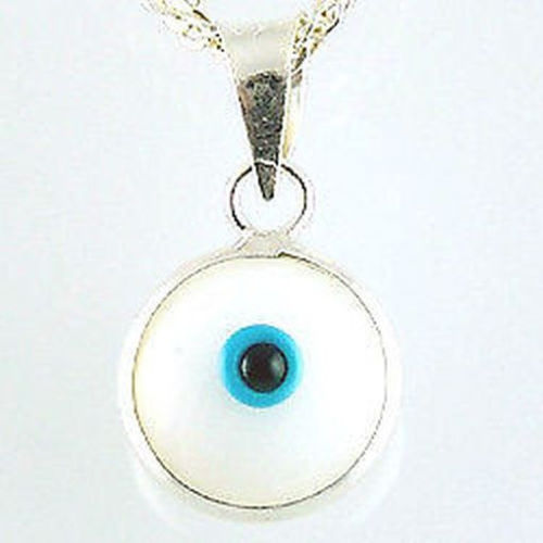 Sterling silver evil eye pendant – White – 10mm – 0.39″