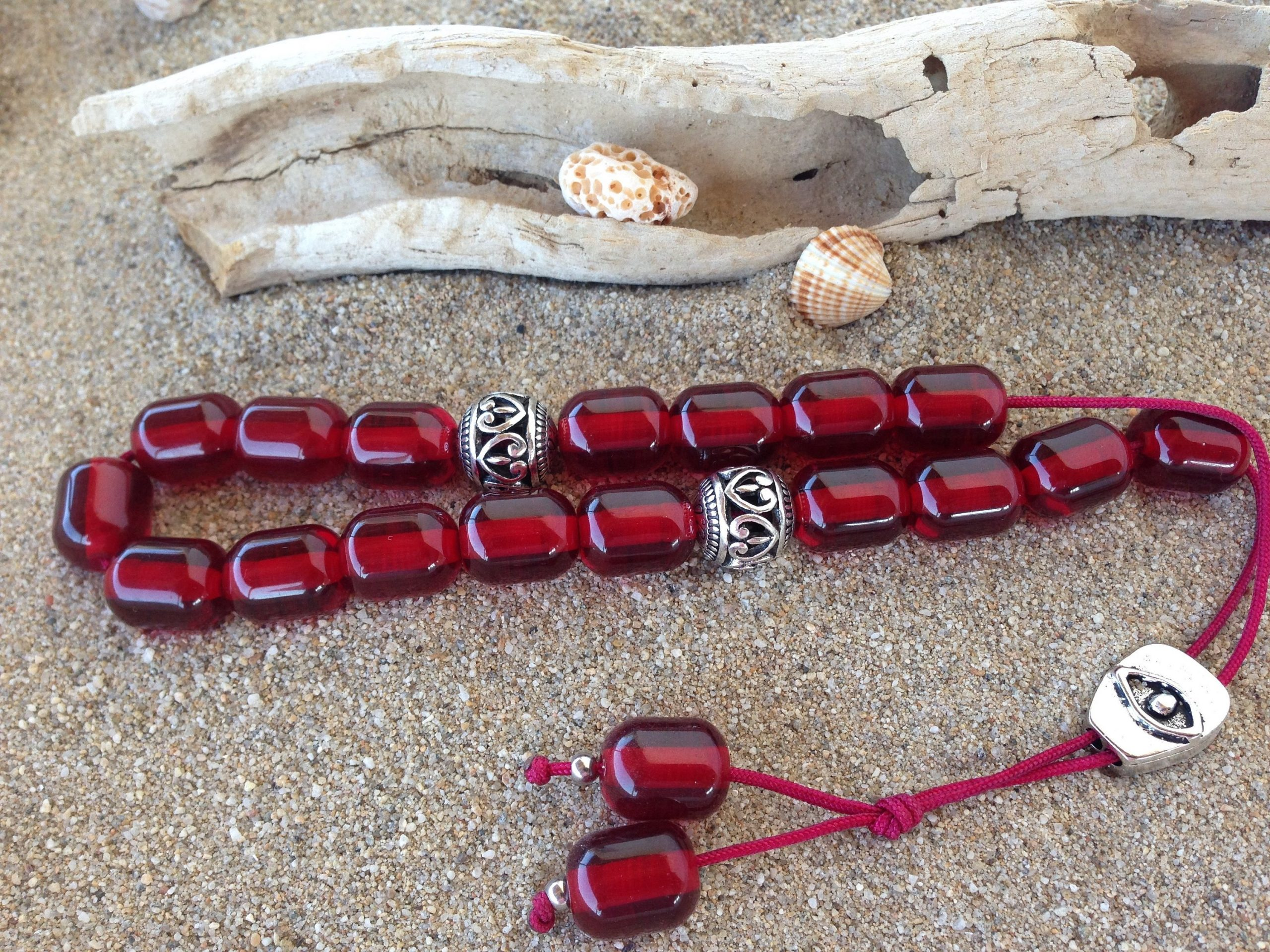 Greek komboloi worry beads dark red