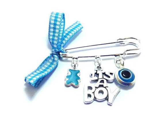 it's a boy evil eye safety pin