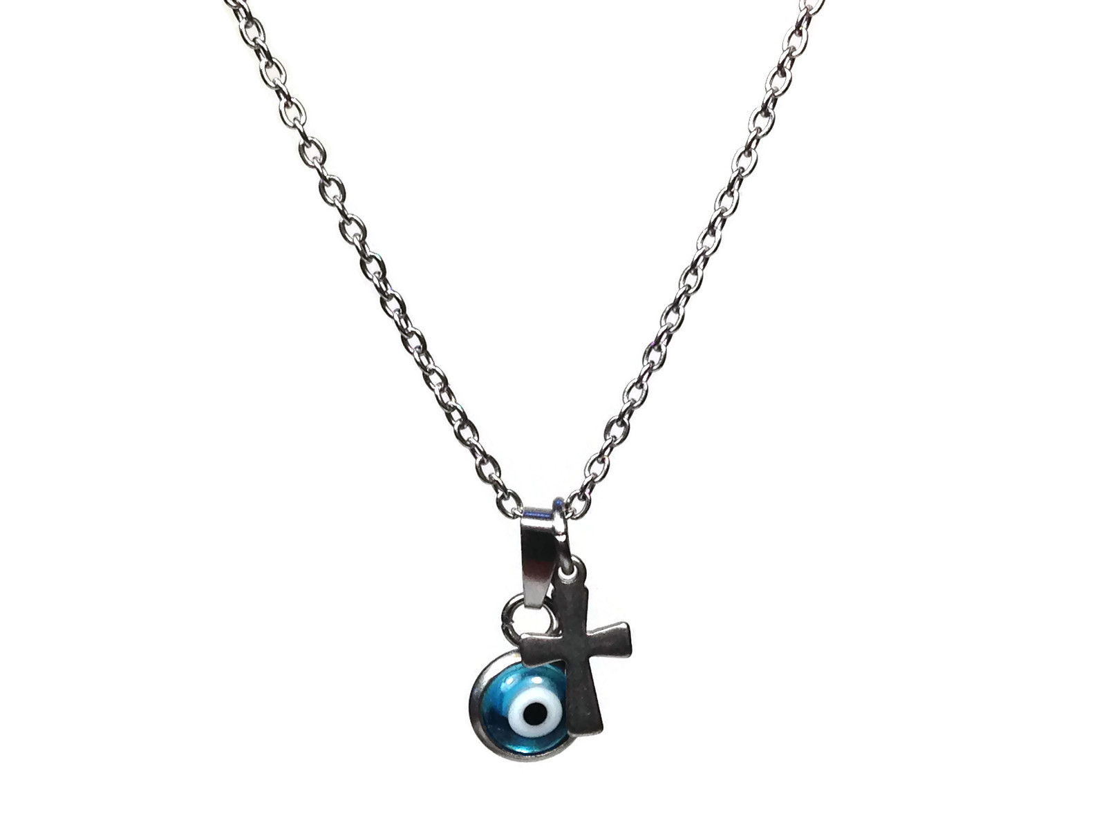 evil eye cross necklace in stainless steel