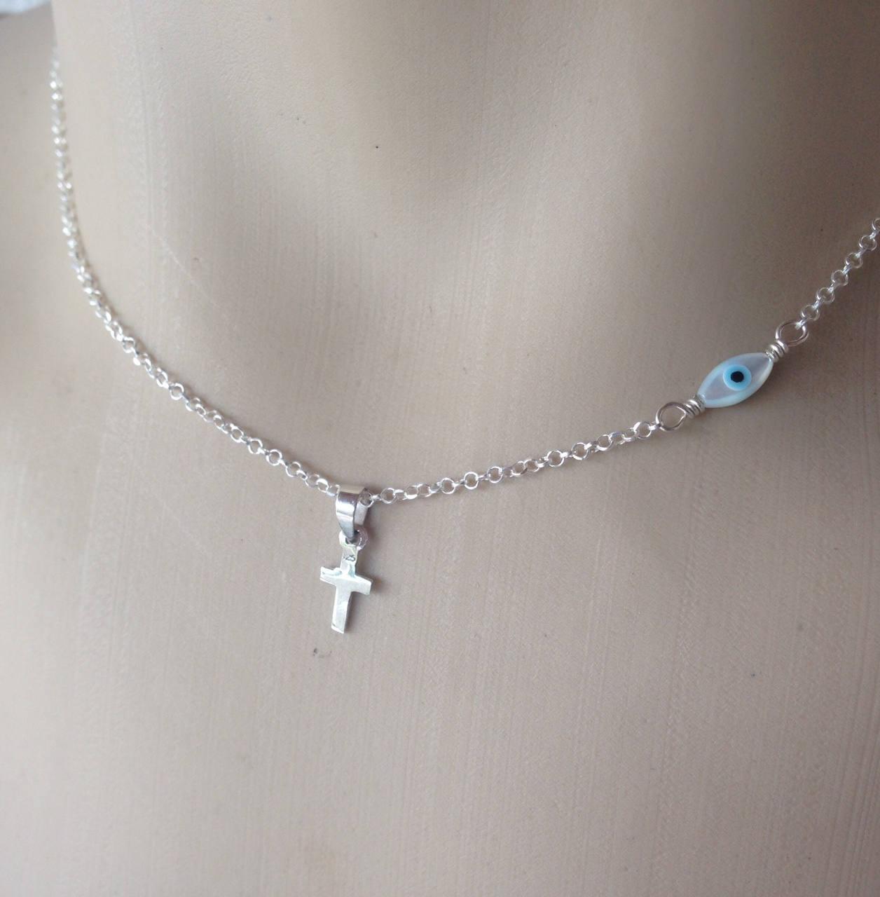 Evil eye cross necklace in sterling silver – Greek jewelry