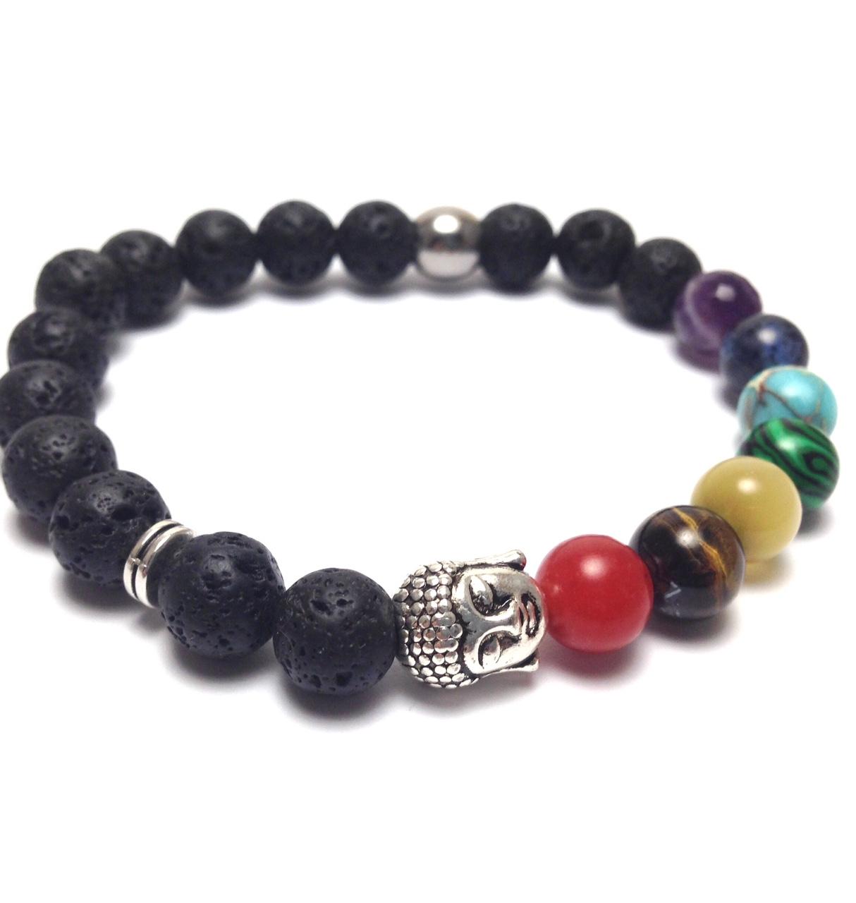 Chakra buddha lava beads bracelet
