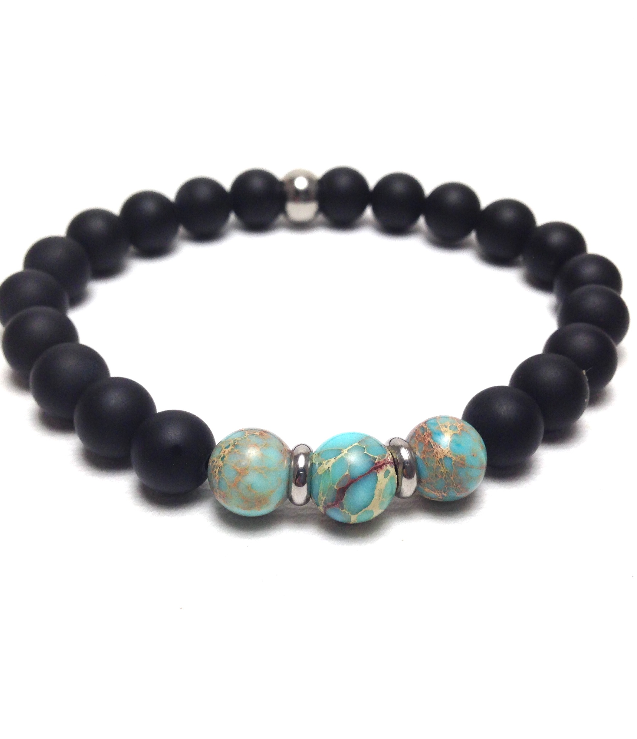 Men's jasper and onyx stainless steel bracelet