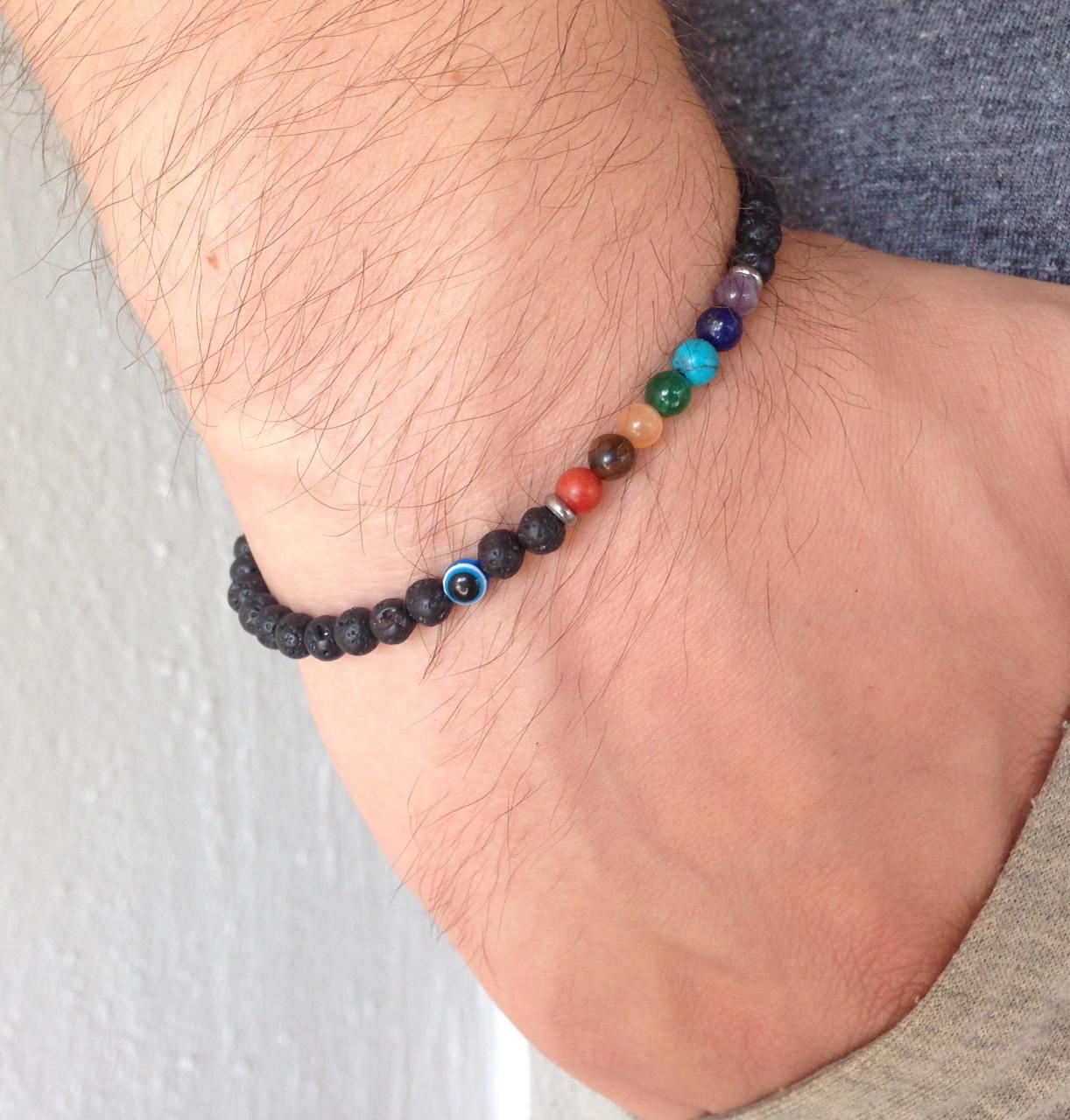 evil eye chakra lava stone bracelet