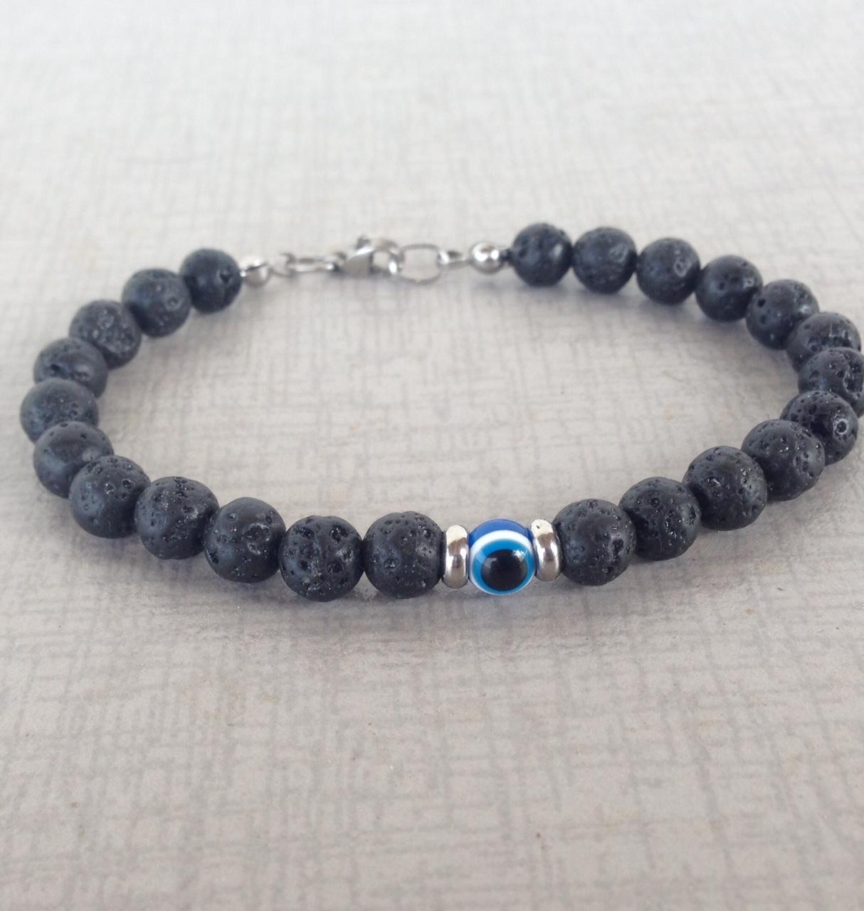 Men S Evil Eye Lava Beads Bracelet