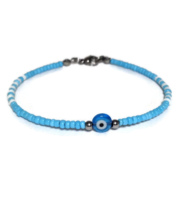 evil eye beaded bracelet in stainless steel