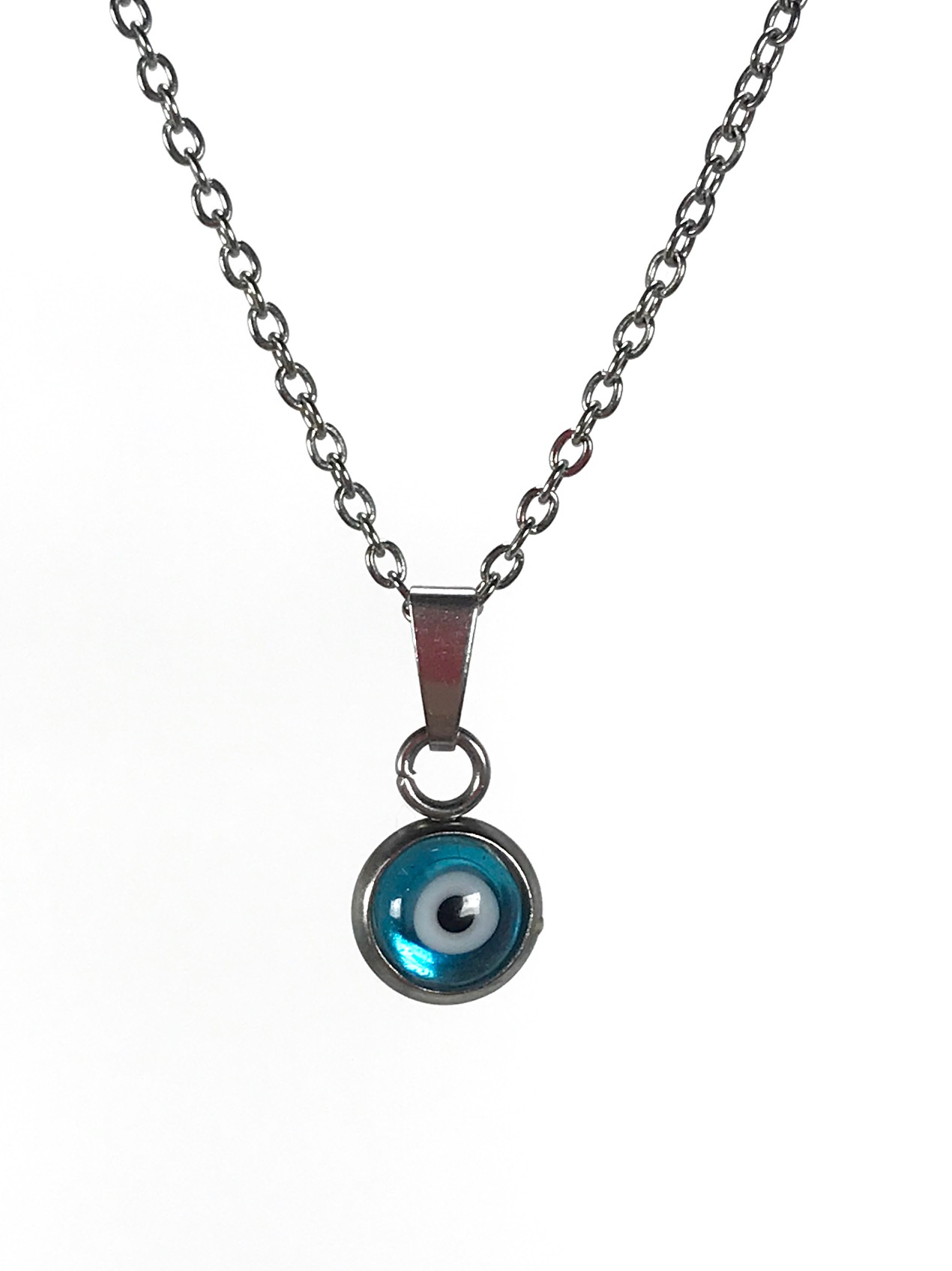 evil eye blue pendant in stainless steel