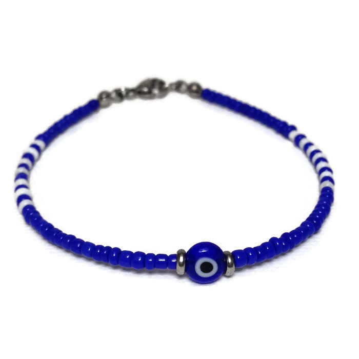 evil eye dark blue beaded bracelet