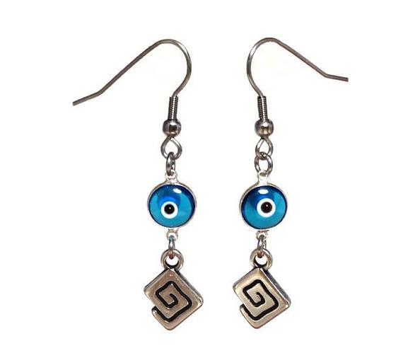 Evil Eye Greek Key Earrings