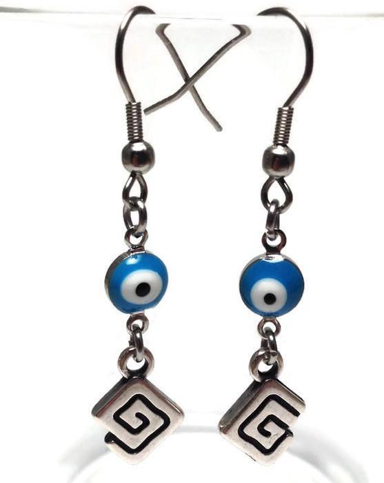 Evil eye turquoise Greek key earrings