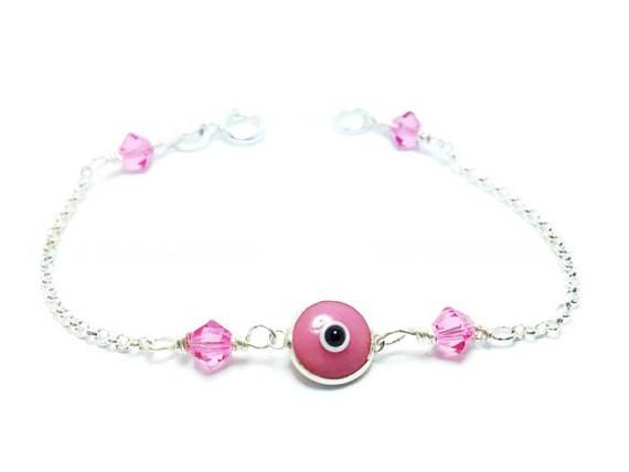 baby evil eye swarovski bracelet in sterling silver