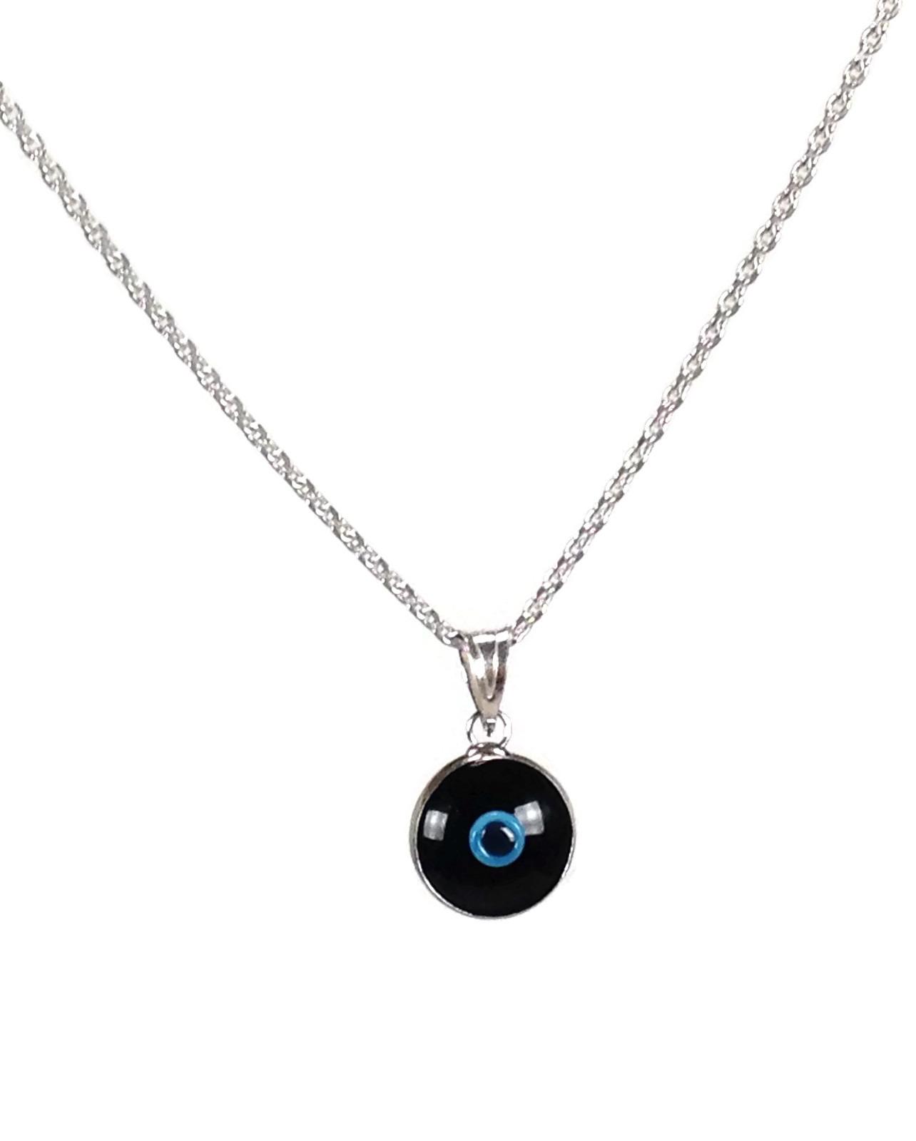 black evil eye pendant necklace