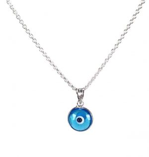 Evil eye necklace pink eye 925 sterling silver protection evil eye necklace transparent blue eye 925 sterling silver mozeypictures Images