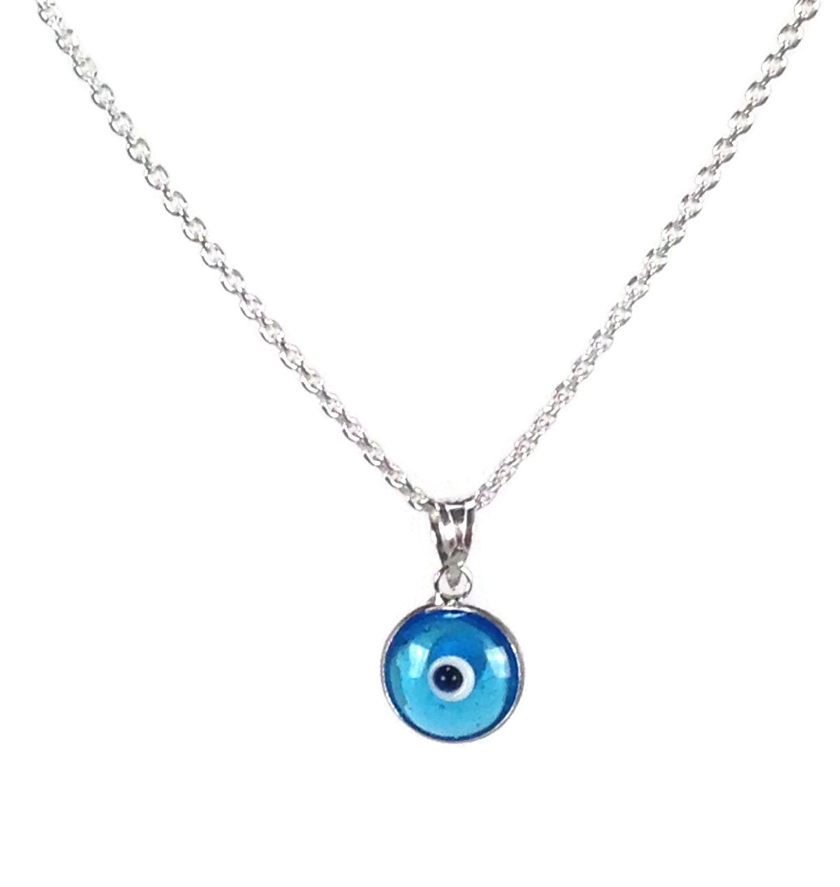 blue evil eye pendant necklace