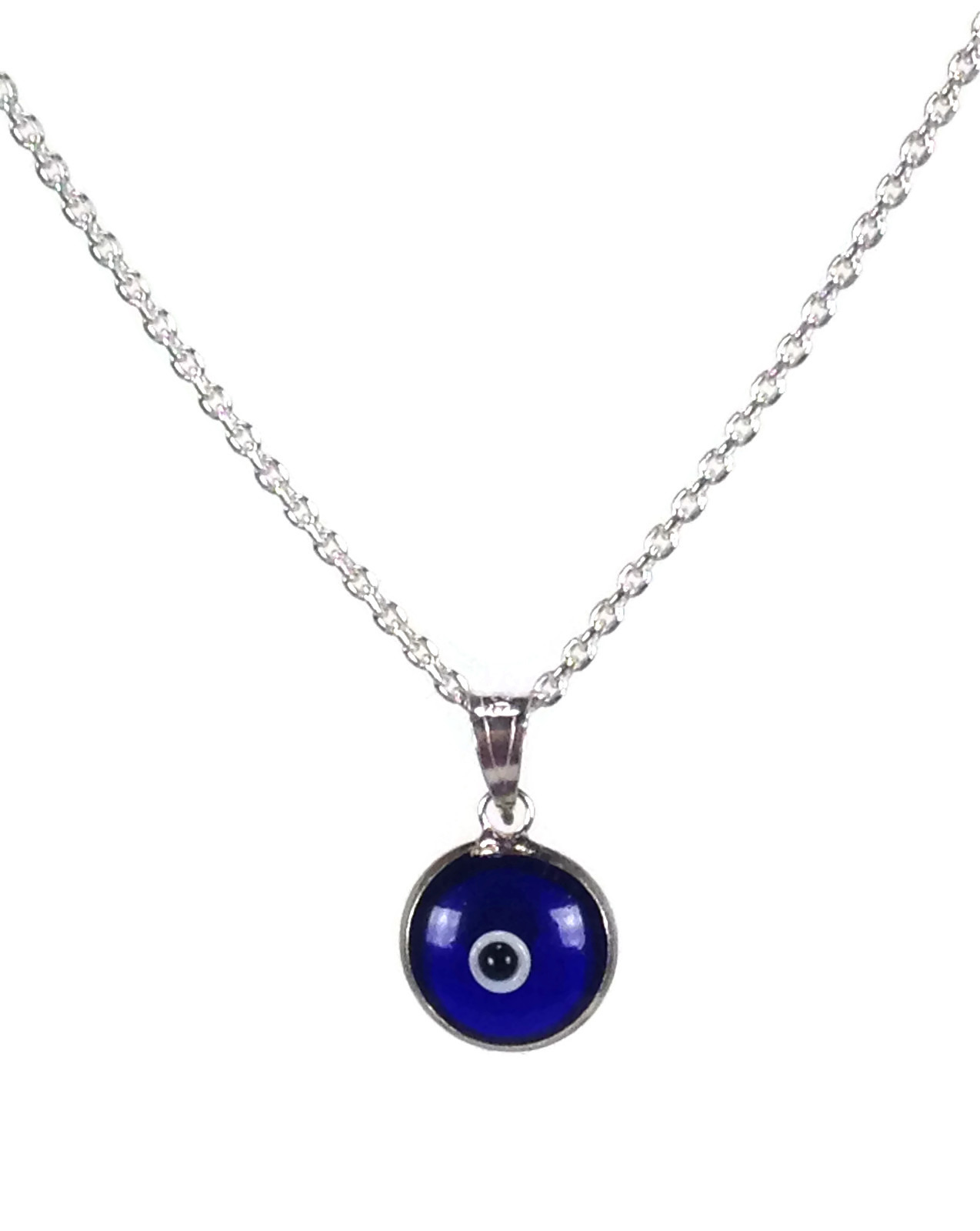 Evil eye necklace dark blue eye in 925 sterling silver sboeyes evil eye necklace aloadofball Images