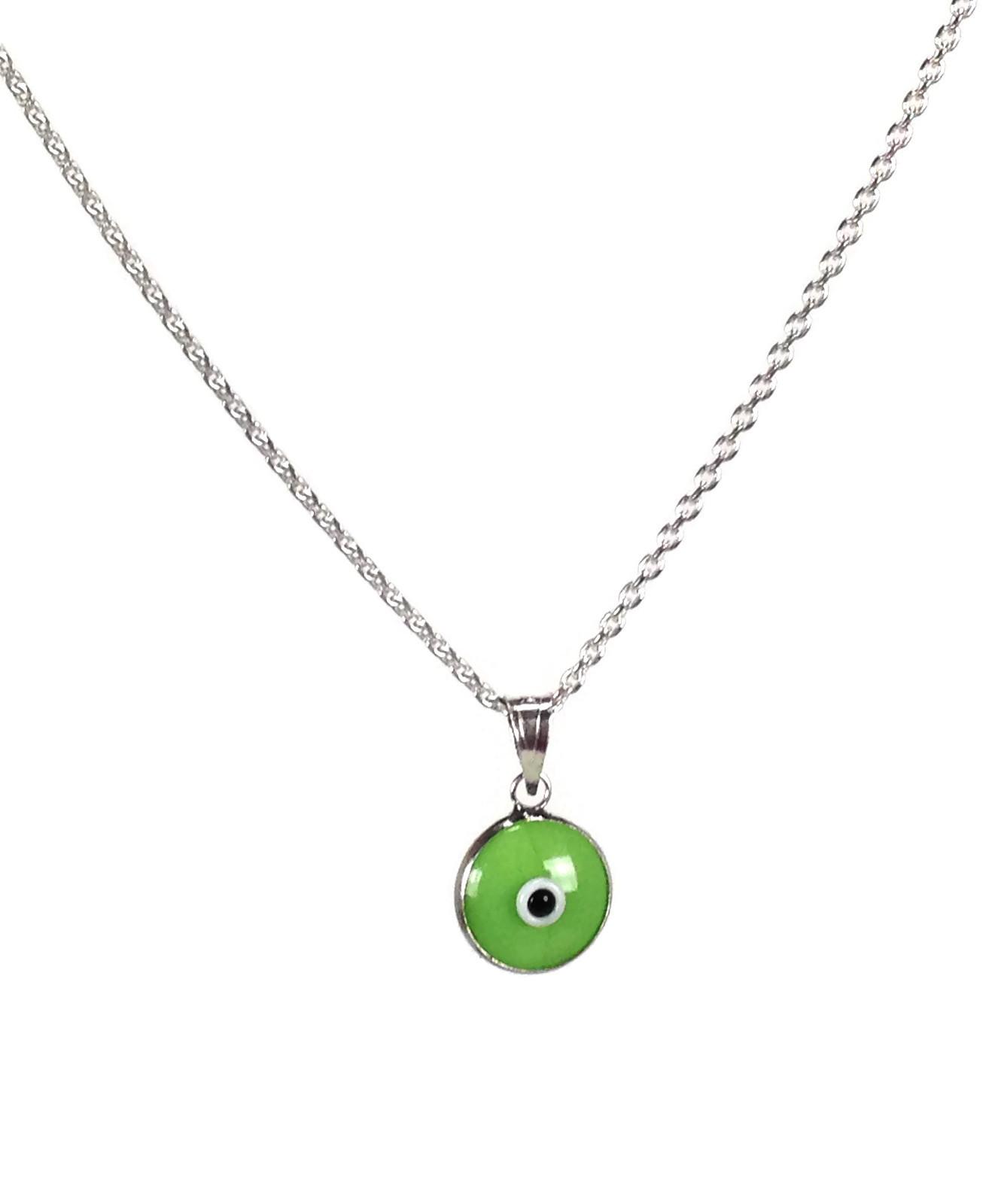Green evil eye pendant necklace