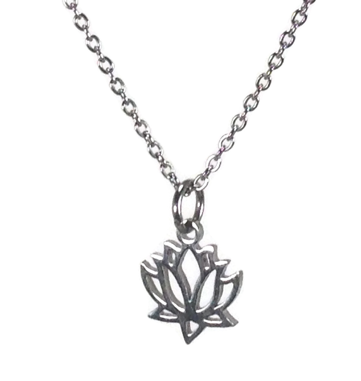 lotus pendant necklace in stainless steel