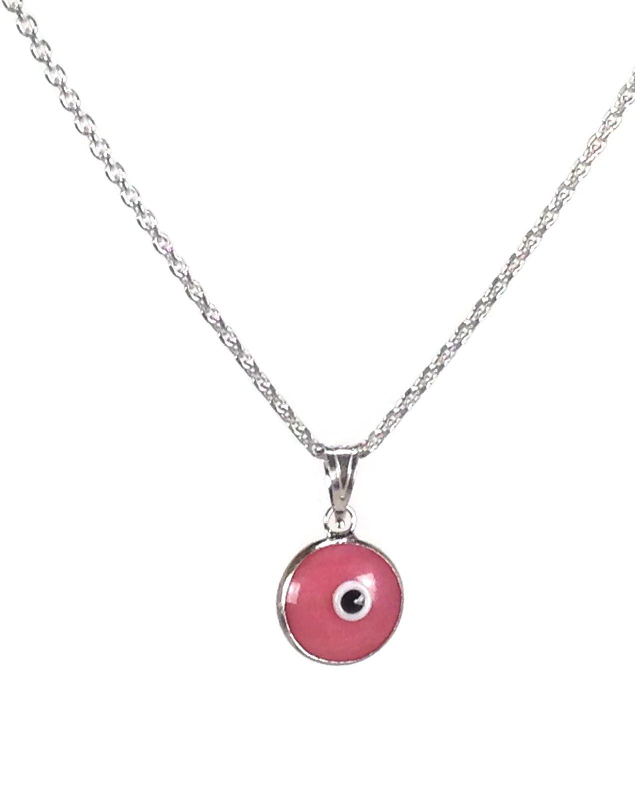 pink evil eye pendant necklace