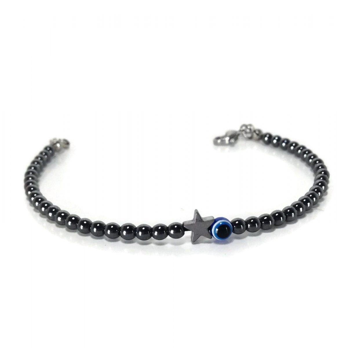 Evil eye star hematite bracelet black lucky charm