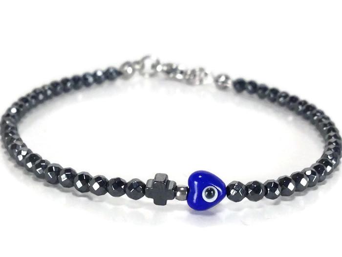 Hematite evil eye cross sparkle bracelet
