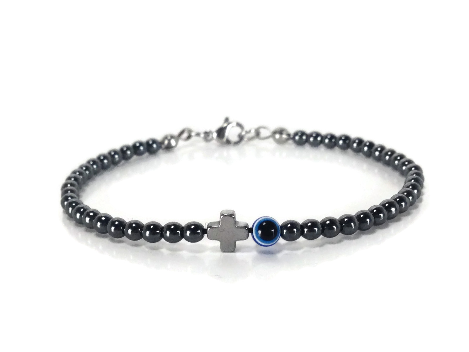 hematite evil eye cross bracelet