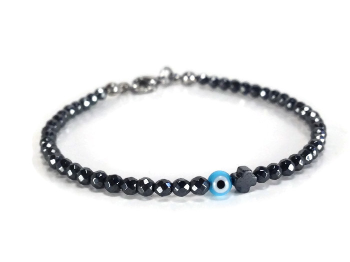Hematite evil eye cross bracelet sparkle