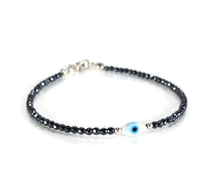 Hematite sparkle 2mm beads with evil eye mother of pearl charm