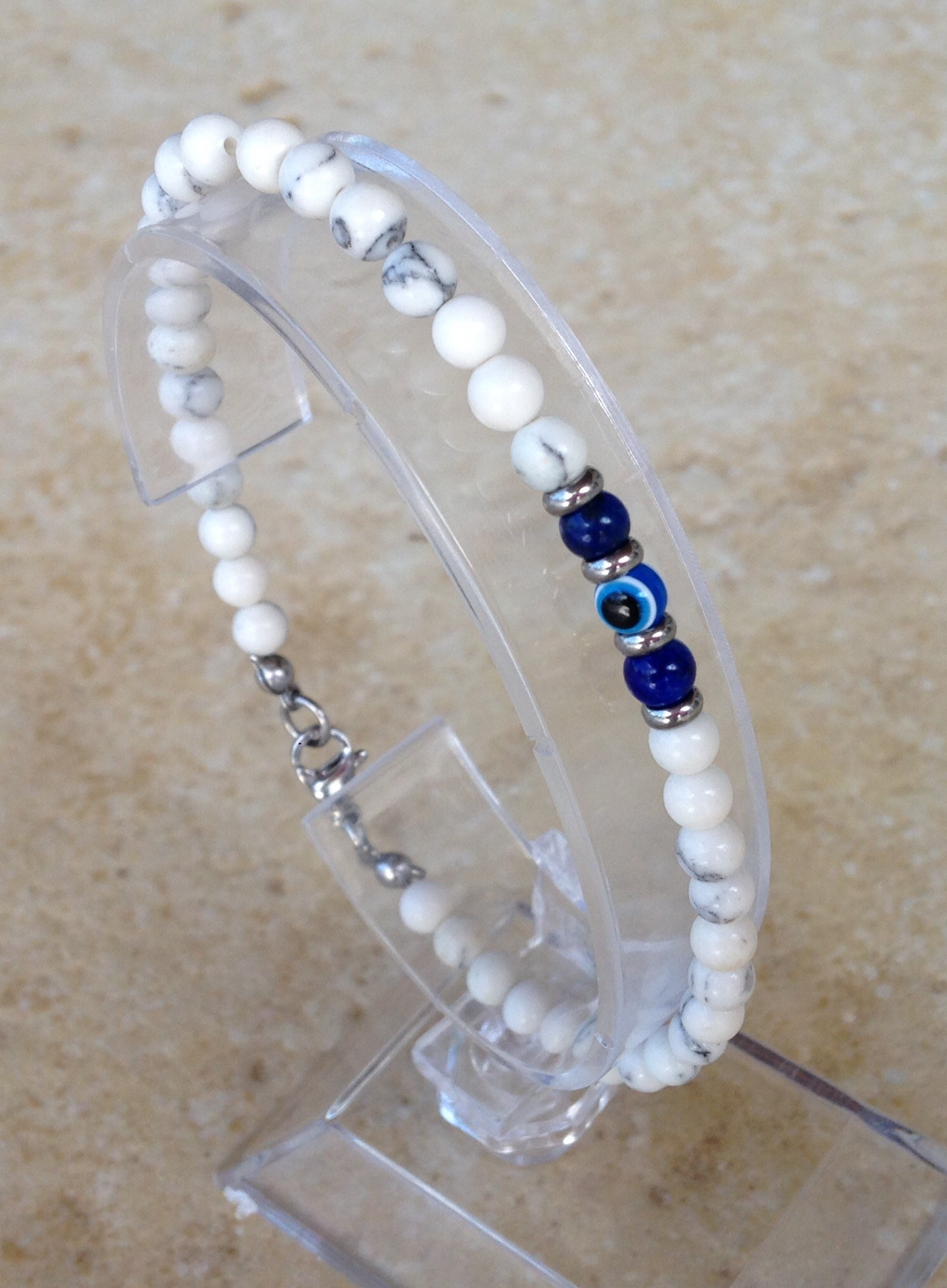 Evil eye white stones – lapis lazuli and evil eye