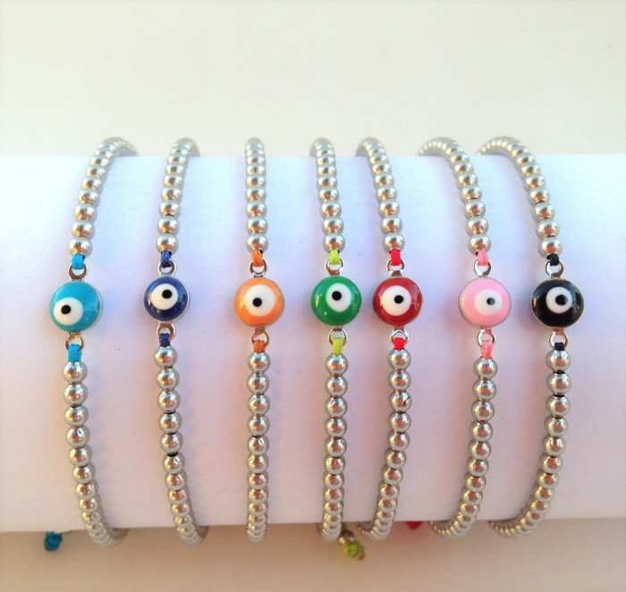 Evil eye bracelets stainless steel choice of colors