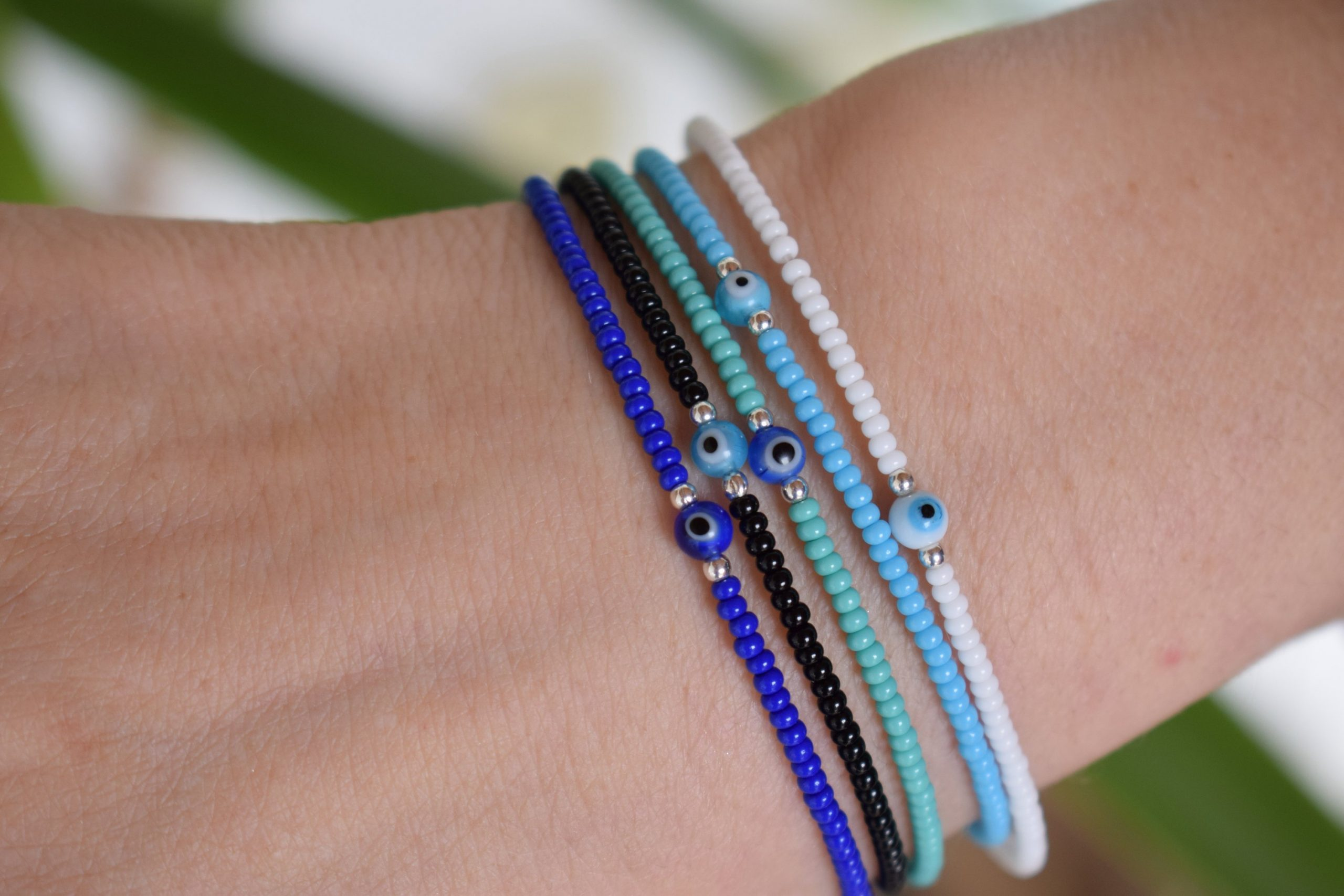evil eye beaded bracelet in sterling silver