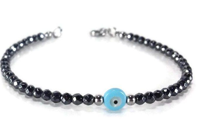 hematite blue evil eye bracelet