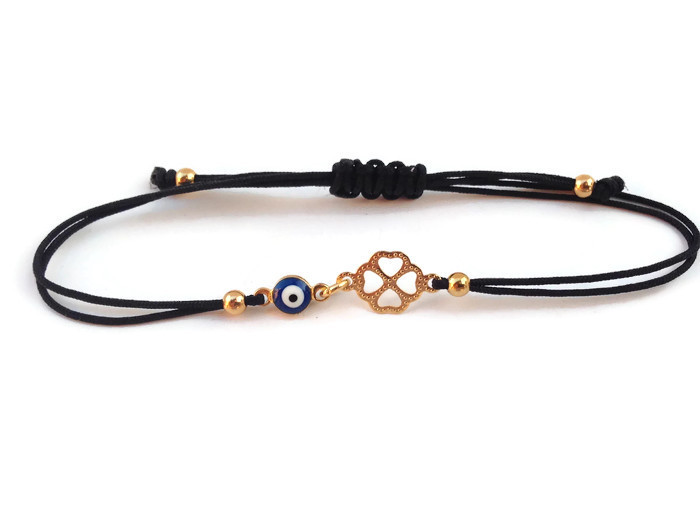 Evil eye gold clover dark blue evil eye bracelet